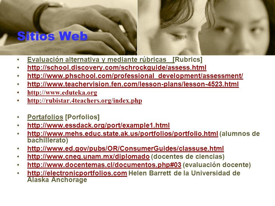 Sitios Web Evaluación alternativa y mediante rúbricas [Rubrics]